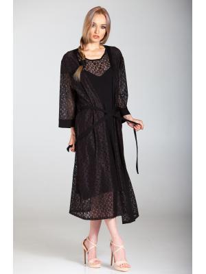 Домашний халат гипюровый черный Ef-0271