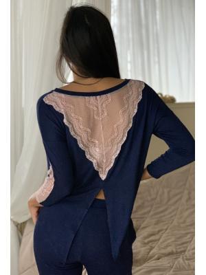 Пижама из синего трикотажа с кружевной спинкой Ef-0273