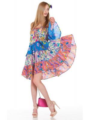 Многоярусное платье-туника с цветочным принтом в голубо-оранжевых тонах FC1191A-1C