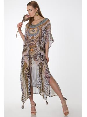 Длинное цветное пляжное платье-туника со стразами FC1239i-1c