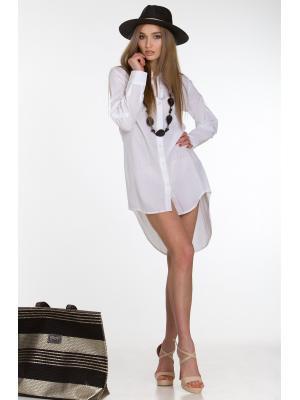 Рубашка-туника с удлиненной спинкой белая FC1250i-1c
