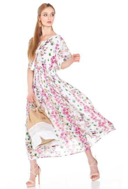 Платье в розовых тонах с широкой резинкой на талии FC1438I-1VCR