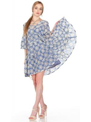 Платье-туника многоярусное из голубой прошвы FC1606f-1c