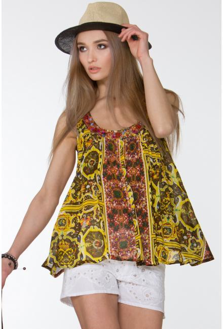 Блуза-туника в золотисто-коричневых тонах FC202A-1c