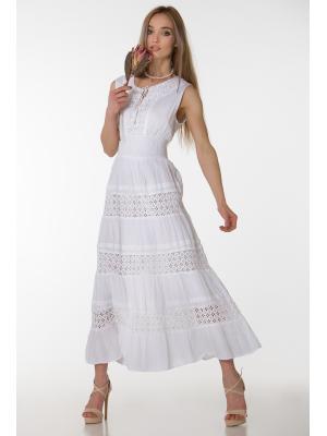 Длинное белое платье-сарафан с гипюровым лифом FC637f-1c