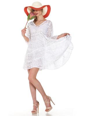 Платье-туника многоярусное из белого гипюра FC1607f-1c