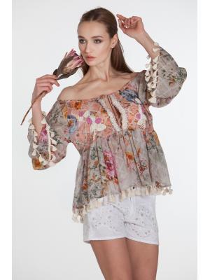 Серо-розовая блуза с вышивкой бисером и кисточками по краям FC1105A-1c