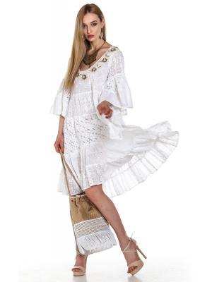 Платье-туника из белой прошвы с ярусами из кружева и бежевой вышивкой по горловине  FC1193А-1c