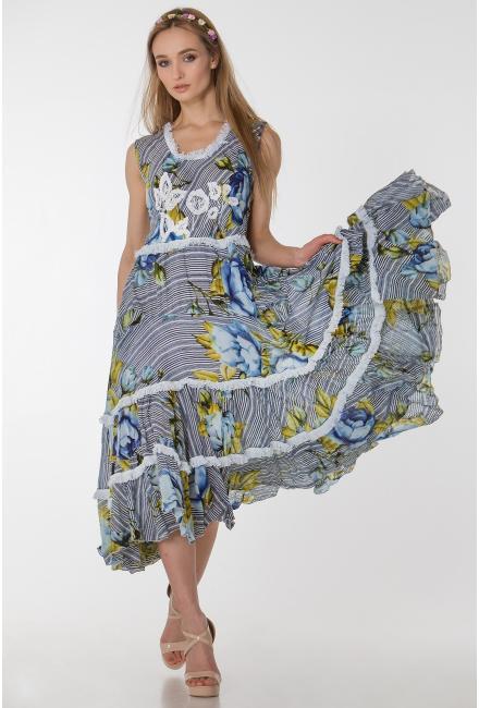 Платье-сарафан в мелкую полоску с цветами FC1205a-1c