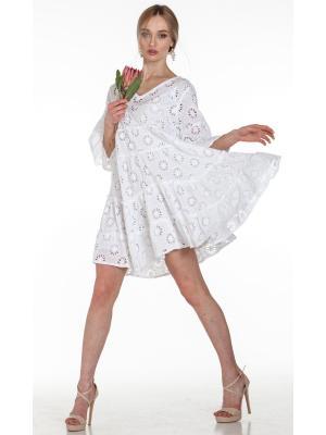 Платье-туника многоярусное из белого гипюра FC1608-1c