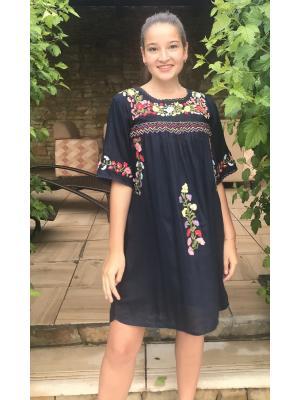 Платье-туника темно-синее с вышивками FC276a-1v