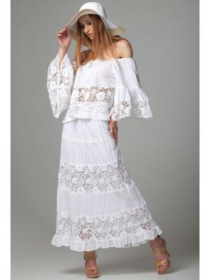 Белая длинная юбка с кружевными вставками FC016f-1c