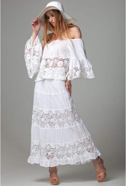 Длинная белая юбка с кружевными вставками FC016f-1c
