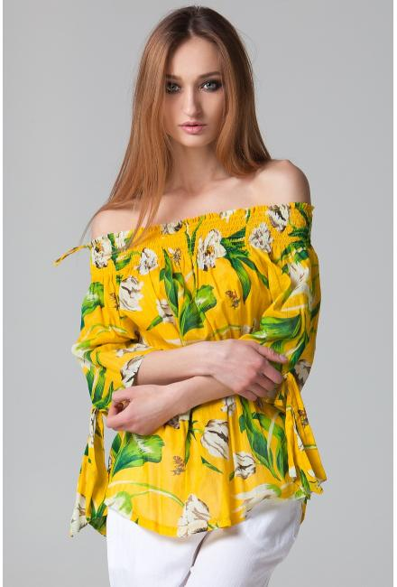 Желтая блуза на широкой резинке FC210a-1c