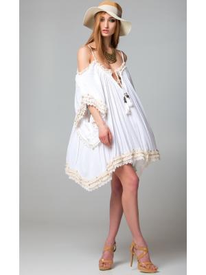 Платье-туника молочное c рукавами и открытыми плечами FC231a-1c