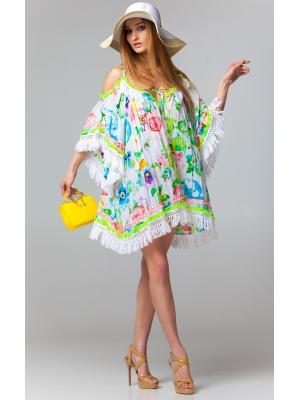 Платье-туника бело-розовое c рукавами и открытыми плечами FC233a-1c