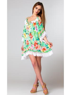Платье-туника фисташково-розовое c рукавами и открытыми плечами FC233a-2c