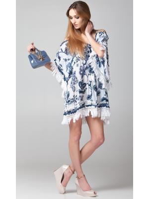 Платье-туника сине-белое c рукавами и открытыми плечами FC233a-3c