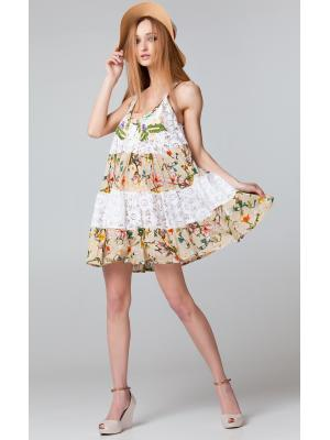 Короткое бежевое платье-сарафан с гипюровыми ярусами FC265a-1c