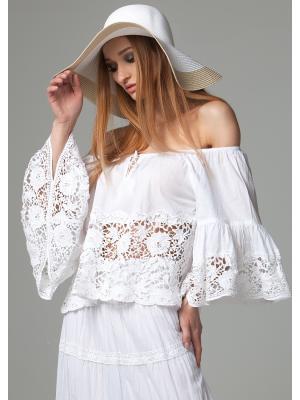Белая блуза с кружевом FC299f-1c