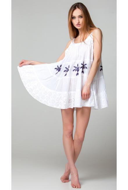 Короткое платье-сарафан с контрастными вышитыми вензелями FC382f-1c