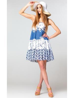 Короткое бело-голубое платье-сарафан на тонких бретелях FC504a-1c