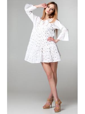 Платье-туника многоярусное из белого гипюра с гладкими рукавами FC617f-1c