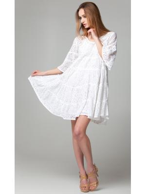 Платье-туника многоярусное из белого гипюра с бусинами и стеклярусом по горловине FC641f-1cn