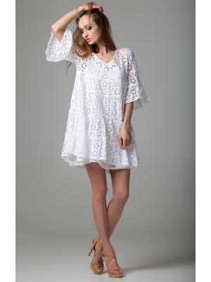 Платье-туника многоярусное из белого гипюра FC643f-1c
