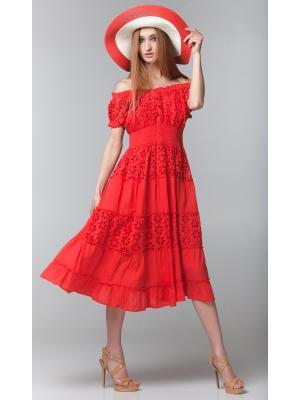 Коралловое длинное платье с гипюровыми ярусами FC640f-3c