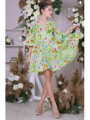 Платье-туника многоярусное фисташковое с цветным принтом i2310F-11c
