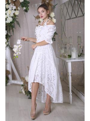 Платье из белой прошвы с удлиненной спинкой FC2501f-1с