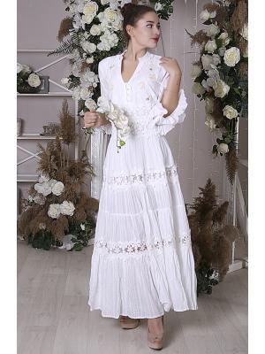 Многоярусное длинное платье с кружевными вставками i2552A-1C