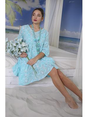 Платье-туника многоярусное из бирюзовой прошвы i2303f-9c