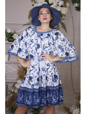 Платье-туника бело-синее с бубончиками на рукавах i23825n-30c