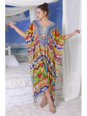 Длинное цветное пляжное платье-туника со стразами i2532N-36SH