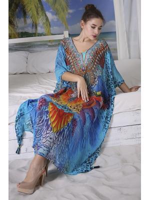Длинное цветное пляжное платье-туника со стразами i2533N-37SH