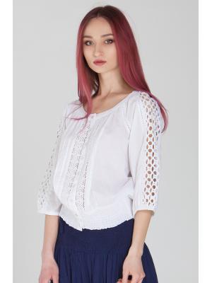 Блуза белая, на пуговицах, с кружевными вставками FC302f-1c