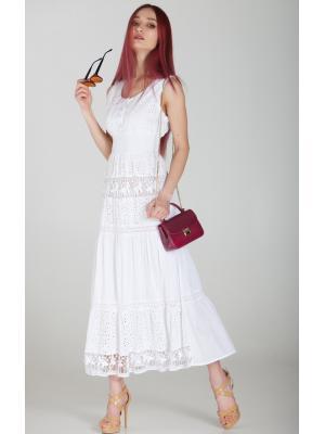 Длинное белое платье-сарафан с лифом на пуговичках FC638f-1c
