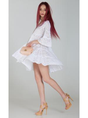 Платье-туника многоярусное из белого гипюра FC644f-1c