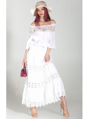 Длинная белая юбка с кружевными вставками FC012f-1c