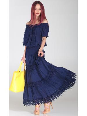 Длинная синяя юбка с кружевными вставками FC012f-2c