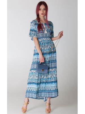 Платье в голубых тонах с широкой резинкой на талии FC462L-1сc