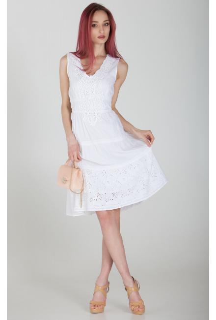 Платье-сарафан средней длины с многоярусной юбкой, белое FC609f-1c