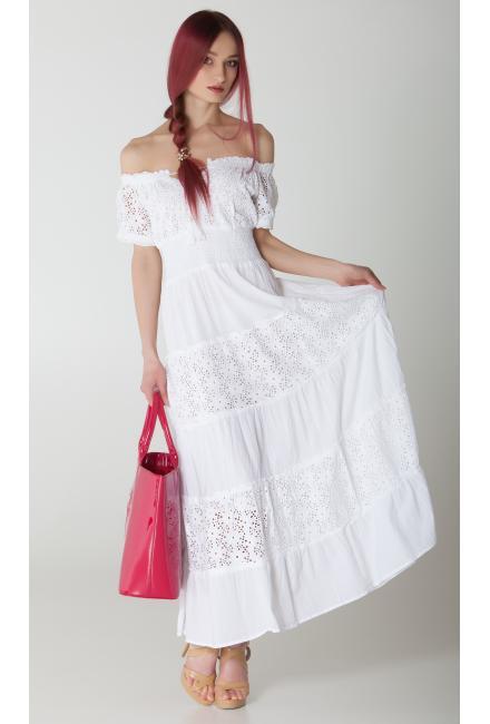 Белое платье с гипюровыми ярусами FC640f-1с