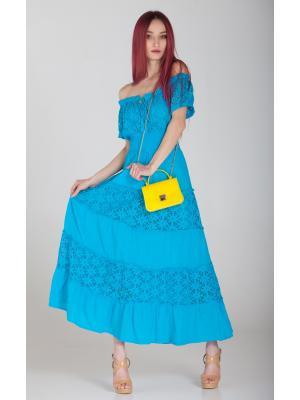 Бирюзовое платье с гипюровыми ярусами FC640f-2с
