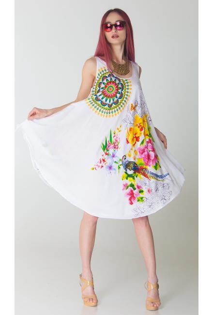 Платье-сарафан белое с ярким принтом FC711i-1v