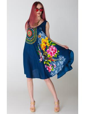 Платье-сарафан синее с ярким принтом FC711i-2v