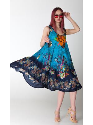 Платье-сарафан бирюзовое с цветочным принтом FC712l-1v