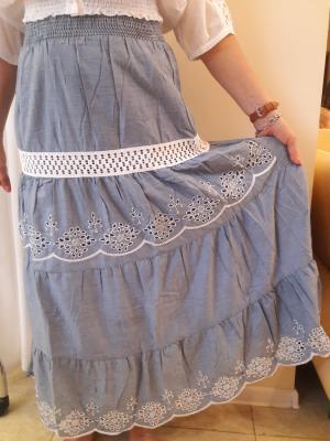 Длинная  юбка с кружевными вставками FC008A-1c